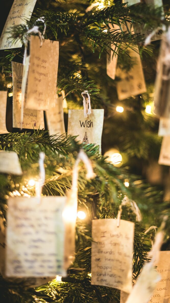 cards hanging on Christmas tree